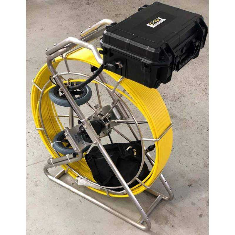 CTV Eagle Maxi BOX 60/9 med gyrokamerahoved og 60 mtr. rørål - Skubbe kamera:, Axial kamera - C-TV