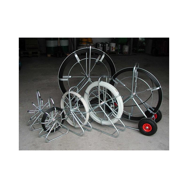 CTV 150 m/9 mm rørål stående stel m. hjul - Glasfiber rørål:, Uden leder - C-TV